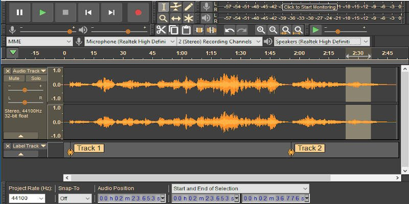 Audacity podcast recording software mixing multiple voice tracks