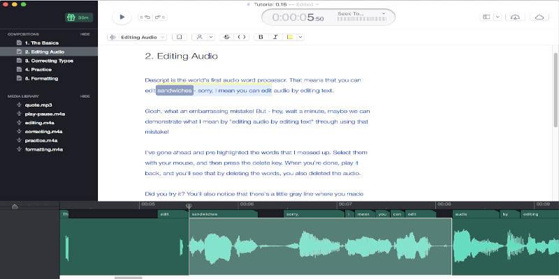Descript for transcribing podcasts