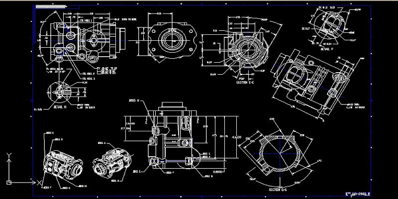 a part measured using a 2d cad drawing